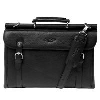 cbb3987b061c Вместительный мужской портфель на саквояжной планке (черного цвета) Dr. Koffer P402227-02